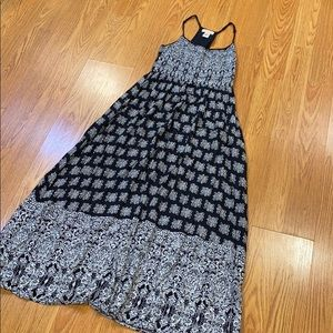 Black maxi dress with flower and block print